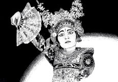 Balinese dance performance. Handmade black and white drawing of traditional dressed Legong dancing girl in Ubud, Bali, with characteristic eye and facial Stock Photos
