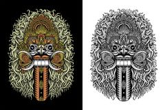 Balinese Demon Mask Stock Photo