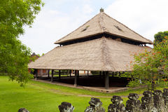 Balinese Design and Architecture, Indonesia. Image of traditional Balinese style architecture in the form of a large attap roofed building at Taman Ayun, Bali Royalty Free Stock Photo