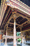 Balinese Design and Architecture, Indonesia. Image of intricately carved ceiling in traditional Balinese style at Tirtha Empul, Bali, Indonesia royalty free stock images