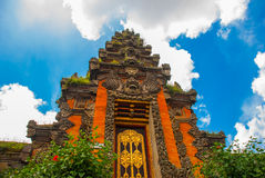 Balinese door facade of temple. Ubud. Bali. Very beautiful temple Balinese temple in Ubud. Bali. Indonesia royalty free stock images