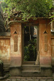 Balinese Doorway and Whisk Broom Royalty Free Stock Photography