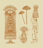 Balinese Elements Illustration Stock Photos