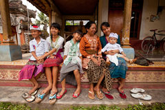 Balinese family befor the ceremonies of Oton Royalty Free Stock Photography