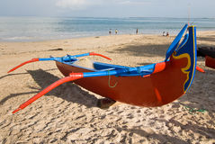 Balinese Fishing Boat. Traditional Balinese fishing boat on the beach Royalty Free Stock Photos