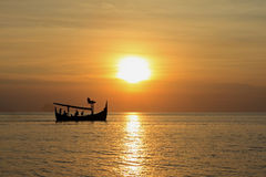 Balinese Fishing Boat At Sunset Royalty Free Stock Photos