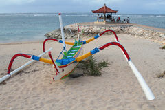 Balinese fishing boat on the beach of Sanur, Bali Royalty Free Stock Photos