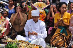 Balinese full moon prayers at Ubud, Bali Royalty Free Stock Images