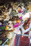Balinese Galungan Festival Offerings to the Gods. A big feast of offerings for the gods in Bali at a Galungan worship day Stock Image