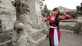 Balinese girl dancing traditional dance in uluwatu temple, bali Royalty Free Stock Photos