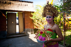 Balinese girl posing before dance Barong Stock Photography