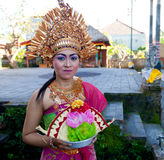 Balinese girl posing before dance Barong Royalty Free Stock Photo