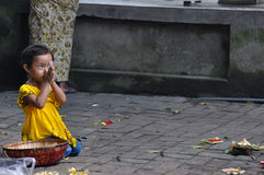 Balinese girl praying Stock Images