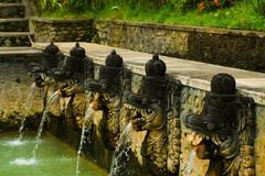 Balinese Hot Spring Fountains Heads Royalty Free Stock Images