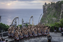 Balinese Kecak dance at Uluwatu temple, Bali. Balinese Kecak dance also known as the Ramayana Monkey Chant at temple Uluwatu, Bali, Indonesia Royalty Free Stock Images