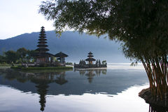 balinese lake temple dawn bali indonesia stock photography