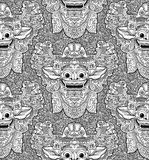 Balinese lion god Barong doodle mask seamless pattern Royalty Free Stock Images