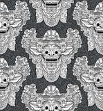 Balinese lion god Barong mask in doodle style seamless pattern Royalty Free Stock Photo