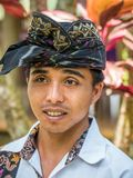 Balinese local working in the Restaurant near Mount Agung stock image
