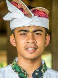Balinese local working in the Restaurant near Mount Agung royalty free stock photos