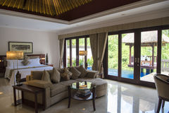 Luxury Hotel Viceroy in the rainforest of Ubud, Bali. Interior of Balinese luxury Viceroy Hotel, Ubud, Bali stock image