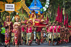 Balinese man parade with traditional dress Stock Photo