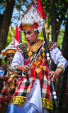 Balinese man parade with traditional dress Stock Image