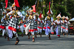 Balinese man parade with traditional dress Stock Images