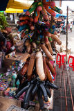 Balinese market. Souvenir wooden the male genitals, the phallus. Bali, Indonesia. Balinese market. Souvenirs of wood and crafts of local residents. Bali Royalty Free Stock Photos