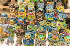 Balinese market. Souvenirs of wood and crafts of local residents. Colorful Souvenirs and figurines. Bali, Indonesia. royalty free stock photography