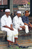 BALINESE MEN AT CEREMONY. Balinese men attend a ceremony in Ketewel, Gianyar in Central Bali Royalty Free Stock Photography