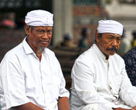BALINESE MEN AT CEREMONY. Balinese men attend a ceremony in Ketewel, Gianyar in Central Bali Stock Photography