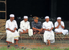 BALINESE MEN AT CEREMONY. Balinese men attend a ceremony in Ketewel, Gianyar in Central Bali Stock Image