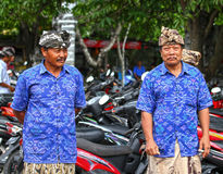 BALINESE MEN AT CEREMONY. Balinese men attend a ceremony in Ketewel, Gianyar in Central Bali Royalty Free Stock Photo
