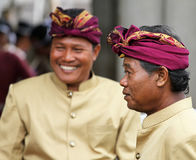 BALINESE MEN AT CEREMONY. Balinese men attend a ceremony in Ketewel, Gianyar in Central Bali Royalty Free Stock Photos