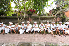 Balinese men at temple Stock Image