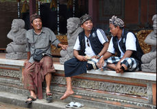 Balinese Men in Traditional Costume Bali Indonesia. 07 October 2011, Bali, Indonesia Royalty Free Stock Images