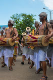 Balinese Musicians playing during Nyepi ceremony in Bali. Indone Royalty Free Stock Photo