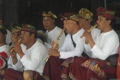 Balinese Musicians in Ulun Danu Beratan Temple Bali Stock Images