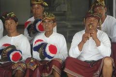 Balinese Musicians in Ulun Danu Beratan Temple Bali Stock Photo