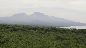 Balinese coast. Balinese ocean coast high top view sea waves and green hill shoting on tilt-shift lens stock video