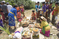 Balinese offering ceremony funeral cremation Royalty Free Stock Photo