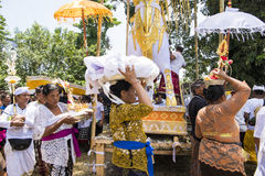Balinese offering ceremony at funeral cremation Royalty Free Stock Photography