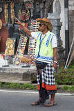 Balinese parking attendant on the main street of Ubud Stock Images