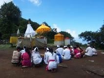 Balinese People Praying on the Mountain Royalty Free Stock Image