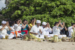 Balinese people to worship on the beach, Indonesia Stock Photos