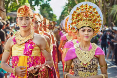 Balinese people in traditional costumes Royalty Free Stock Photo