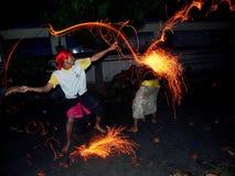 Balinese Fire War Ritual known as Perang Api Ritual, Indonesia Stock Image