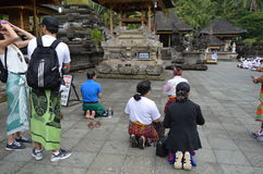 Balinese Prayers in Tirta Empul Temple Bali Stock Images