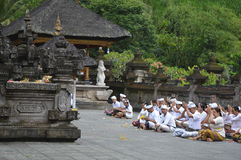 Balinese Prayers in Tirta Empul Temple Bali Royalty Free Stock Photo